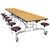National Public Seating MTS12 12 Foot Mobile Cafeteria Table with Plywood Core and 12 Stools