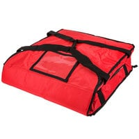 Rubbermaid FG9F3500RED ProServe Small Red Insulated Nylon Pizza Delivery Bag - 18 inch x 18 inch x 5 1/4 inch