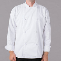 Mercer Culinary Genesis® M61020 Unisex Lightweight White Customizable Long Sleeve Chef Jacket with Cloth Knot Buttons - 3X