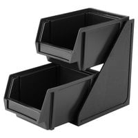 Vollrath 4840-06 Traex® Black Self-Serve Condiment Bin Stand Set with 2-Tier Stand and 8 inch Condiment Bins