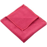 Unger MF40R SmartColor MicroWipe 16 inch x 15 inch Red Heavy-Duty Microfiber Cleaning Cloth   - 10/Pack