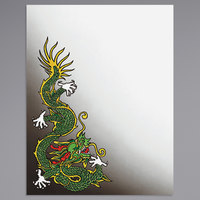 8 1/2 inch x 11 inch Menu Paper - Asian Themed Dragon Design Cover - 100/Pack