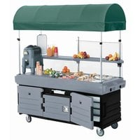 Cambro KVC856C426 CamKiosk Black Base with Granite Gray Door Vending Cart with 6 Wells and Canopy
