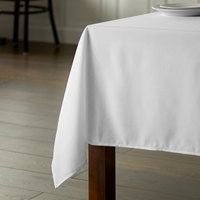 Intedge 54 inch x 114 inch Rectangular White 100% Polyester Hemmed Cloth Table Cover