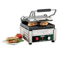 Waring WPG150B Panini Perfetto Grooved Top & Bottom Panini Sandwich Grill - 9 3/4 inch x 9 1/4 inch Cooking Surface - 208V, 2392W