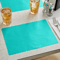 Choice 10 inch x 14 inch Teal Colored Paper Placemat with Scalloped Edge - 1000/Case