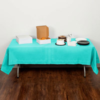 Creative Converting 324764 54 inch x 108 inch Teal Lagoon Tissue / Poly Table Cover - 6/Case