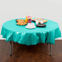 Creative Converting 324765 82 inch Teal Lagoon OctyRound Plastic Table Cover - 12/Case