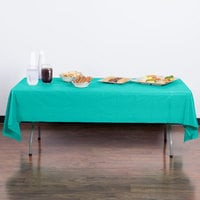 Creative Converting 324789 54 inch x 108 inch Teal Lagoon Plastic Table Cover - 12/Case