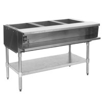 Eagle Group AWTP3 Liquid Propane Three Pan Sealed Well Water Bath Steam Table with Galvanized Legs and Safety Pilot