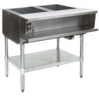 Eagle Group AWTP2 Natural Gas Two Pan Sealed Well Water Bath Steam Table with Galvanized Legs and Safety Pilot