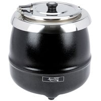 Avantco S30 11 Qt. Round Black Countertop Food / Soup Kettle Warmer - 120V, 400W