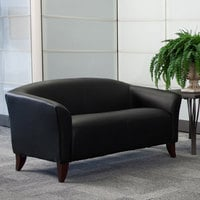 Flash Furniture 111-2-BK-GG Hercules Imperial Black Leather Loveseat with Wooden Feet