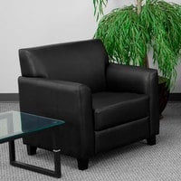 Flash Furniture BT-827-1-BK-GG Hercules Diplomat Black Leather Chair with Wooden Feet