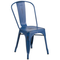 Flash Furniture ET-3534-AB-GG Distressed Antique Blue Stackable Metal Chair with Vertical Slat Back and Drain Hole