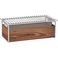 Cal-Mil 3722-49 Mid-Century 12 inch x 22 inch Chafer Alternative with Wind Guard and Walnut and Chrome Frame