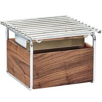 Cal-Mil 3711-49 Mid-Century 12 inch x 12 inch Chafer Alternative with Wind Guard and Walnut and Chrome Frame