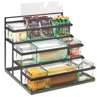 Cal-Mil 3603-13 3-Step Black Coffee Condiment Station with 9 Glass Jars - 16 inch x 14 3/4 inch x 13 1/2 inch