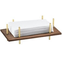 Cal-Mil 3718-46 Mid-Century 10 inch x 5 1/2 inch x 3 1/2 inch Napkin Holder with Brass Frame