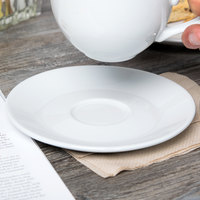 Tuxton BPE-0631 6 3/8 inch Porcelain White Cappuccino China Saucer - 24/Case