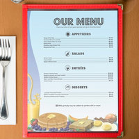 8 1/2 inch x 11 inch Menu Paper - Breakfast Themed Table Setting Design Left Insert - 100/Pack