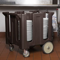 Cambro DC1225131 Poker Chip Dark Brown Dish Dolly / Caddy with Vinyl Cover - 4 Column