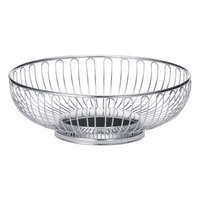 Tablecraft 4171 Chalet Small Oval Chrome Basket - 7 1/2 inch x 5 1/2 inch x 2 5/8 inch
