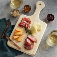 American Metalcraft BB816 16 inch x 8 inch x 3/4 inch Rubber Wood Cutting / Charcuterie Board with Handle
