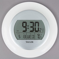 Taylor 1750 9 1/4 inch White Digital Atomic Wall Clock with Thermometer and Calendar