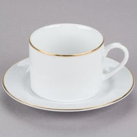 10 Strawberry Street GL0009 6 oz. Gold Line Porcelain Can Cup with Saucer - 24/Case