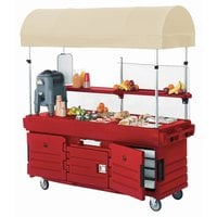Cambro KVC856C158 CamKiosk Hot Red Vending Cart with 6 Pan Wells and Canopy