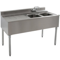 Eagle Group B4L-2-22 48 inch Underbar Sink with Two Compartments and Left Drainboard