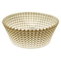 Ateco 6409 1 inch x 3/4 inch Gold Striped Baking Cups - 200/Box