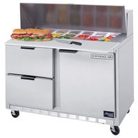 Beverage-Air SPED48HC-08C-2 48 inch 1 Door 2 Drawer Cutting Top Refrigerated Sandwich Prep Table with 17 inch Wide Cutting Board