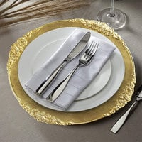 The Jay Companies 1180256-G-4 13 inch Round Royal Gold Leaf Embossed Plastic Charger Plate