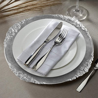 The Jay Companies 1180256-S-4 13 inch Round Royal Silver Leaf Embossed Plastic Charger Plate