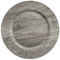The Jay Companies 1270397 13 inch Round Poplar Dark Gray Faux Wood Melamine Charger Plate