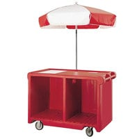 Cambro CVC55158 Camcruiser Hot Red Vending Cart with Umbrella, 1 Counter Well, and 2 Storage Compartments
