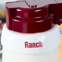 Tablecraft CM6 Imprinted White Plastic Ranch Salad Dressing Dispenser Collar with Maroon Lettering