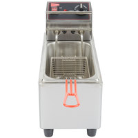 Cecilware EL6 Stainless Steel Electric Commercial Countertop Deep Fryer with 6 lb. Fry Tank - 120V, 1800W