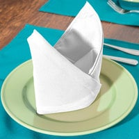 Intedge White 50/50 Polycotton Blend Cloth Napkins, 20 inch x 20 inch - 12/Pack