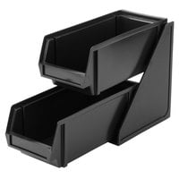 Vollrath 4841-06 Traex® Black Self-Serve Condiment Bin Stand Set with 2-Tier Stand and 11 1/4 inch Condiment Bins