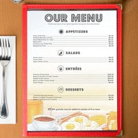8 1/2 inch x 11 inch Menu Paper - Breakfast Themed Rooster Design Left Insert - 100/Pack