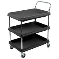 Metro BC2030-3DBL Black Utility Cart with Three Deep Ledge Shelves - 32 3/4 inch x 21 1/2 inch