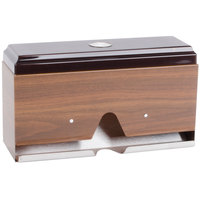 Vollrath 3805-12 Straw Boss Single Sided Wrapped Straw Dispenser - Dark Walnut Woodgrain