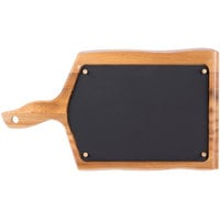 Tablecraft UCW10 15 3/4 inch x 9 inch Rectangular Acacia Wood Underliner / Bread Board with Removable Silicone Liner and Natural Wood-Grain Finish