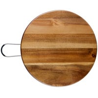 Tablecraft ACAMR12 Acacia Wood Round Display Board with Brushed Nickel Handle - 12 inch x 5/8 inch