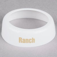 Tablecraft CB6 Imprinted White Plastic Ranch Salad Dressing Dispenser Collar with Beige Lettering