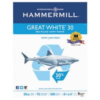 Hammermill 86700 8 1/2 inch x 11 inch White Case of 20# Recycled Copy Paper - 5000 Sheets
