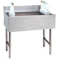 Advance Tabco CRI-12-36-10 Stainless Steel Underbar Ice Bin with 10-Circuit Cold Plate - 36 inch x 21 inch